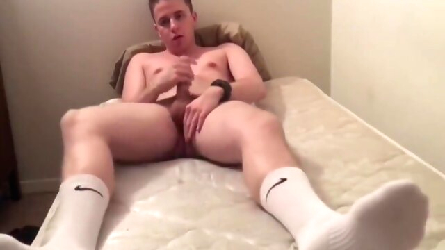 Jacking off in white Nike socks college gayxxx